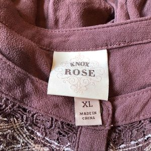 Knox Rose mauve boho blouse long sleeve buttons